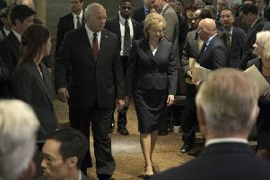 Christian Bale as Dick Cheney and Amy Adams as Lynne Cheney PHOTO: PA Photo/Motion Picture Artwork 2017 STX Financing, LLC