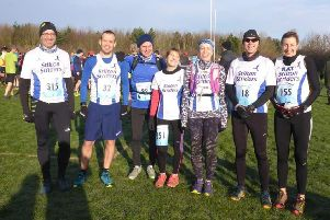 The intrepid Stilton Striders contingent at the Charnwood Hills fell race EMN-190502-130211002
