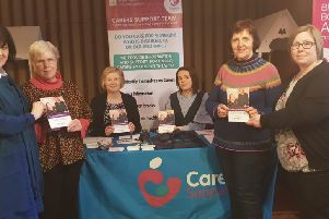 Pictured at the launch of the revised Carers' Support Booklet are L-R: Bernie Dooher, Health Facilitator, Adult Learning Disability; Bernadette McDaid, Carer; Cathy Magowan, Western Trust Carers Coordinator;  Alison Gallagher, Health Improvement Department; Sheila Thompson, Carer and Martina Woods, Autism Initiatives.