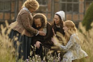Dame Judi Dench as Anne Shakespeare, Kenneth Branagh as William Shakespeare, Lydia Wilson as Susanna Hall and Kathryn Wilder as Judith Shakespeare PHOTO: PA Photo/Sony Pictures Releasing