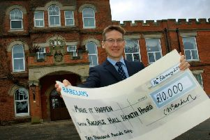 David Hamdorff, of Ragdale Hall Spa, with a cheque to represent the �10,000 his company is donating again to the Make It Happen fund EMN-190703-153226001