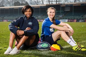England rugby legend and Land Rover ambassador Maggie Alphonsi with HITZ graduate Jess Whale