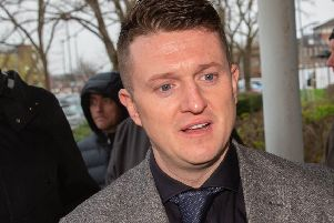 Tommy Robinson leaves the county court in Peterborough. Photo: Terry Harris