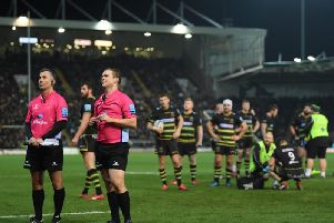 Ian Tempest (second official from the left) will take charge of the Premiership Rugby Cup final at Franklin's Gardens on Sunday