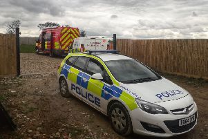 Police officers have been carrying out investigations at the scene of the blaze which destroyed six caravans in a field off Sandy Lane in Melton