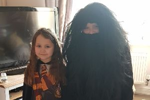 Nieve and Daniel O'brien as Hermione Granger and Hagrid from Harry Potter PHOTO: Supplied