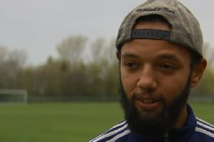 Linford Harris, a Wymeswold FC player who was racially abused during a cup final prompting his team to walk off in protest, pictured during an interview with Sky Sports TV EMN-190504-121330001