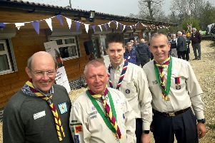 Derek Fraser (Melton Scouts district treasurer), Ian Cliffe (District Commissioner), Sam Morris (Deputy Chief Commissioner of England) and Chris Dolby (Melton District chairman) pictured at the open day for the redeveloped campsite EMN-190904-105236001