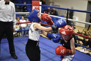 Peterborough Police fighter Reggie Baker (left) in action against Ethan Bird. Picture: David Lowndes