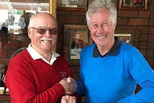 Stoke Rochford GC club chairman Adrian Stannard (right)with order of merit winner Greg Ewart EMN-190416-184624002