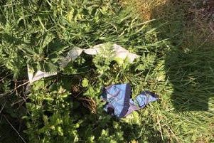 Soiled wipes found in a layby in Leadenham. EMN-190423-101553001