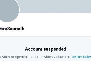 A screenshot of the suspended account on Twitter.