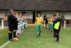 Guard of honour for Michael Stevenson at the beginning of the game. EMN-190429-135316002