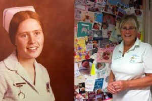 Joyce Salkeld, who is retiring as a Melton midwife after more than 30 years service, pictured as a second year student and in the present day EMN-190514-130446001