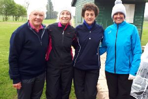 Woolly hats and waterproofs were a necessity for the Melton team last week. From left -  Avis, Paula, Nancy and Karen EMN-190514-150649002