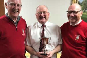 Seniors captain Cliff Mills (left) with Open champion Jeff Purdy and organiser Mike Dickinson EMN-190514-152543002