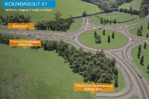 A computer-generated drone flight over the proposed Melton Mowbray Distributor Road (MMDR) showing where the road would start at the junction with the A606 Nottingham Road EMN-190516-153834001
