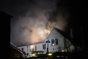 The former care home on fire
