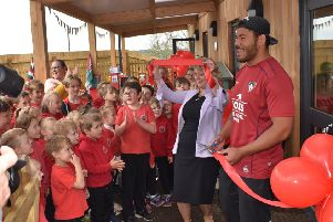 England and Leicester Tigers rugby star Manu Tuilagi visits Waltham Primary School to officially open their new classroom building EMN-190522-151107001