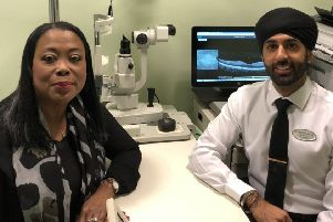 Customer Pauline Skipworth with optometrist director Dilraj Gumber PHOTO: Supplied