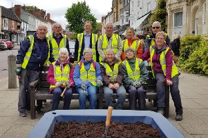 Volunteers from Market Harborough in Bloom with Neil O'Brien MP and Cllr Frankie McHugo.