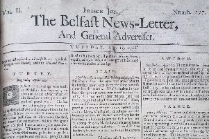 The front page of the Belfast News Letter of May 15 1739 (which is May 26 in the modern calendar)