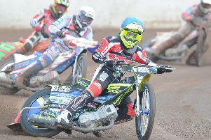 Paul Starke rides for Peterborough Panthers against King's Lynn.