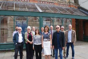 From left, outside the former baptist chapel in Melton - which is due to become the new HQ for the Melton Vineyard Church -  Back Row, Tom Woodhead and Gary Roche (Woodhead Group), Abi Powell (Hookway Design), Andrew Banister (Scape Group), Tom Allen (Artistic Industries) and Neal Swettenham, of Melton Vineyard Church; Front Row, Phil Johnson, Alison Johnson, Maria Twittey, Eluned Owen and'Bernie Carter, all of Melton Vineyard Church EMN-190528-154918001