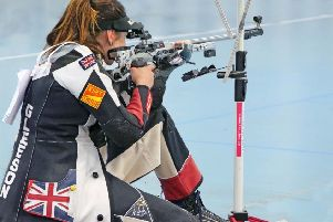 Katie Gleeson takes aim in the final at Dortmund. Picture: Heinz Reinkmeier