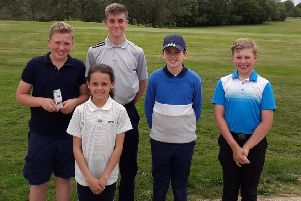 Young winners at Little Hay Golf Club, from left, Noah Scotchbrook, Sapphire Boyce, Harry Miller, Joseph Tompkins and Thomas Ashton.