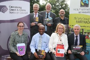 Members of The Fairtrade Steering Group pictured after their recent meeting in Cloonavin, back row, Dr Christopher G Stange (Consulate General of St. Vincent and the Grenadines & Secretariat of the All Party Group on Fairtrade), Chris McCaughan (The Co-operative, Ballycastle) and Nicholas Lestas (Director The Good Food and Wine Company). Front row, Councillor Orla Beattie, Richard John (Secretary, Causeway Multi Cultural Forum), Paddy-Ann Leach, (Manager of Catering and Conferencing - Ulster University Coleraine Campus) and Aidan McPeake (Causeway Coast and Glens Borough Council Director of Environmental Services)