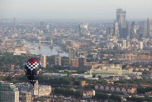 The Belvoir Brewery balloon flies over the city of London in the Ricoh Lord Mayor's Hot Air Balloon Regatta'PHOTO MARCUS GREEN EMN-190621-163823001