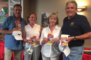 Winning Senior Mixed Open team, from left, club chairman Glenn Price, Jean Moulds, Margaret Samways and captain Gerry Stephens, with prizes including annual passes to Twinlakes EMN-190907-110830002