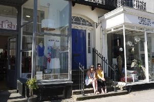 Debra Whitaker and Eleni Bradshaw in between their two shops in Warwick Street. Photo by Amanda Stacey.