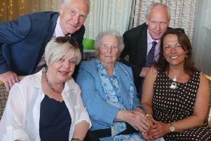 Nellie McKinley from Dunluce Portrush who celebrated her 100th birthday on Monday, July 15 with her sons Sean and Laim and their wives Marie and Liz at the Royal Court Hotel