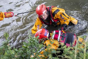At The University of Northampton campus on Wednesday afternoon firefighters staged a 'throw line' water rescue drill to highlight the efforts which go into a water rescue mission.