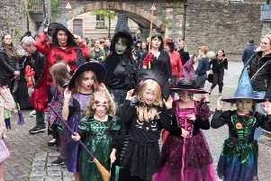 Some of the hundreds of witches who descended on the Walls as Derry City and Strabane District Council launched its Hallowe'en 2018 programme last year. Picture Martin McKeown. Inpresspics.com. 16.08.18