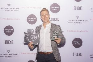 George with his award for Best Entertainment (Musical) at the National Wedding Awards PHOTO: Supplied