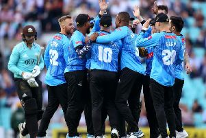 Sussex celebrate the early run-out of Mark Stoneman at The Oval / Picture by Getty Images