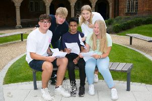 Top-performing GCSE students at Ratcliffe College celebrate their results EMN-190822-172821001