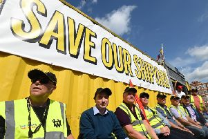 The Northern Ireland committee of the Irish Congress of Trades Unions (ICTU) hosted a rally of trade unionists in solidarity with the Harland and Wolff workforce and their fight to save the shipyard on Friday. Pic: Colm Lenaghan/Pacemaker