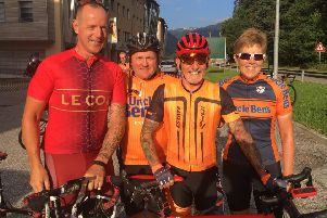 Mick Stevens, Andrew Keightley (Nobby), Dean Chapman and Teresa Coltman are cycling the Dolomites in aid of the Guide Dogs charity EMN-190828-110732001