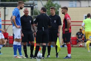 Posh skipper Mark Beevers (left).