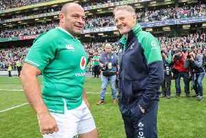 Ireland's Rory Best in Dublin with head coach Joe Schmidt. Pic by INPHO.