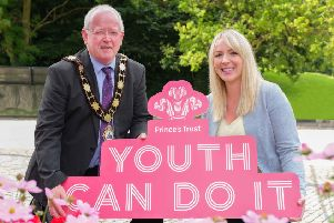 Mayor of Antrim and Newtownabbey, Alderman John Smyth is joined by Ruth Cooper, Senior Head of Partnerships at The Prince's Trust to Launch the Prince's Trust Development Awards