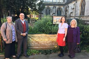 Dawn and Paul Gartshore, owners of LOL, plus Robyn Reynolds, marketing manager at TruFrame, with Melton resident Lin Gutteridge (purple jacket), who won one of the sponsored VIP packages for Melton Mowbray Musical Theatre Company's centernary show EMN-190110-141745001