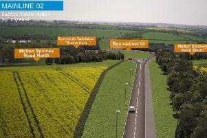 A computer-generated drone view of the Melton Mowbray Distributor Road (MMDR), where it crosses Melton Spinney Road close to Twinlakes EMN-190310-160328001