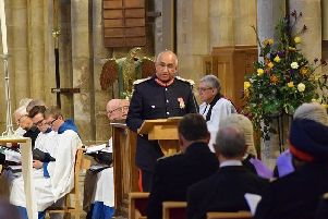 Lord Lieutenant of Leicestershire, Mike Kapur, reads the first lesson at the county service at St Mary's Church, Melton EMN-191014-105524001