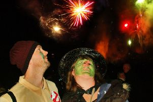 Tom Styles and Lisa Taylor enjoy the firework display PHOTO: Tim Williams