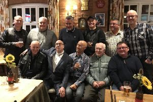 Members of the 1979 apprentice intake of mechanical engineers at the former Old Dalby REME depot gather for a 40th anniversay reunion, from left, back row - Mick Garton, Steve Hudson, Derek Corton, Dean Gibson, Andy Macdonald, Graham Mann; front row - Martin Smith , Andrew Hamilton, Robin Williams, Malcolm Johnson (apprentice trainer), Phil Groom EMN-190411-110037001